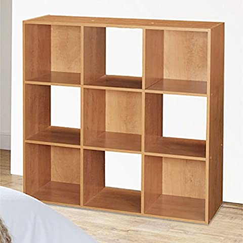 Top Home Solutions 9 Cube Wooden Bookcase Shelving Display Shelves Storage Unit Wood Shelf (Natural)
