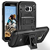 Galaxy S7 Hülle, BEZ™ [Heavy Duty Serie] Outdoor Dual Layer Armor Case [Stoßfestes Etui] [Schwarz] Handy Schutzhülle [Shockproof] robuste Hülle für Samsung Galaxy S7