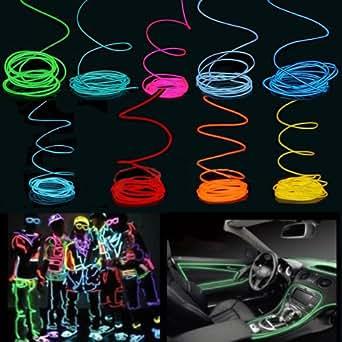 5m party auto hause el wire neon kabel licht effekt lichtschnur leuchtdraht 12v inverter rot. Black Bedroom Furniture Sets. Home Design Ideas
