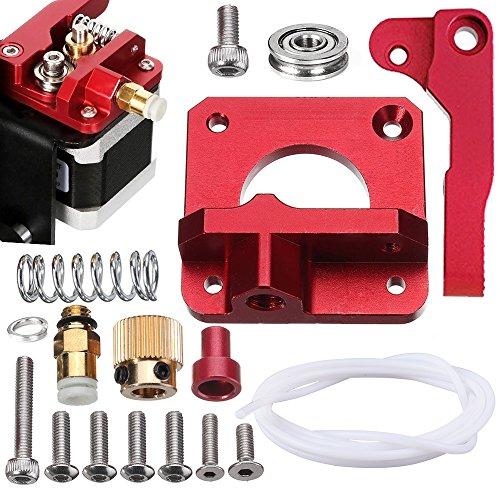 SIQUK Verbesserte Ersatz Aluminium MK8 Extruder Drive Feed 3D Drucker Extruder Kit für Creality CR-10, CR-10S, CR-10 S4, RepRap Prusa i3, 1.75mm (Bonus: 1 Meter PTFE Teflon Tube)