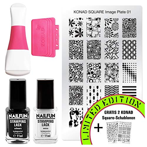 KONAD Stampingset SQUARE mit Double Edge Stamp Set + Stampingschablone XL + NAILFUN Stampinglack weiss 11ml + Stamping-Lack schwarz 11ml [Limited Edition]