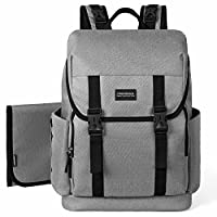 mommore Dads Changing Backpack Large Baby Nappy Bags with Changing Mats and Pram Clips, Grey