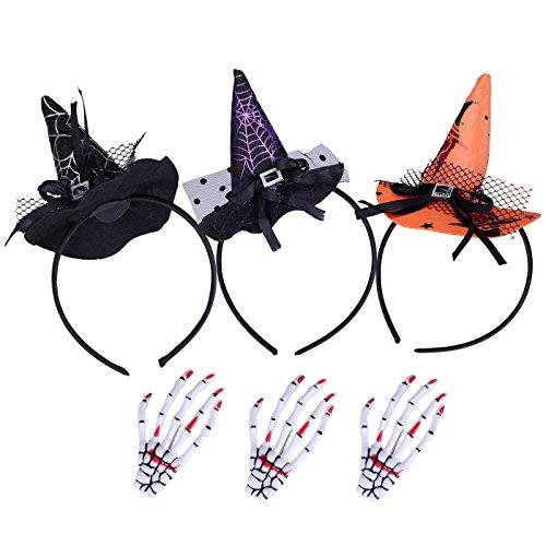 Fascigirl 3 PC Halloween Haar-Band Hexe-Hut Stirnband Haarband+ Halloween-Haar-Stifte Hairband Haar-Zusätze mit 3 Haar-Stiften für Halloween-Parte (Halloween-hexe-hut Stirnbänder)