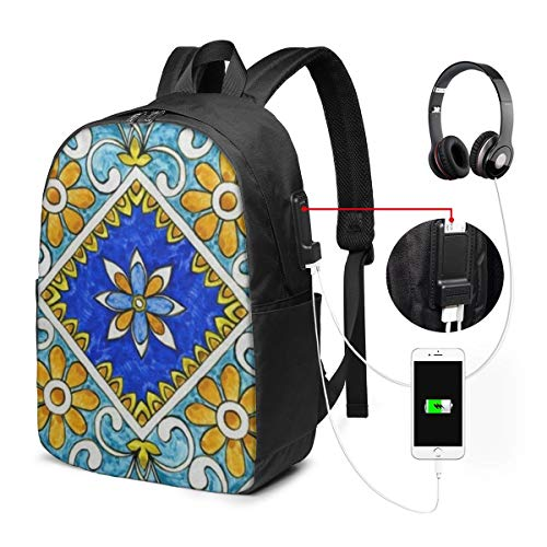 Italian Majolica Backpack Bag for Kids Boys Girls Teens Birthday, Gift String Bag Gym for School and Party 17inches