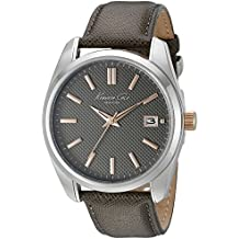 Kenneth Cole Mens gris bracelet en cuir cadran gris KC10024357