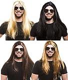 Hippie Perücke für Herren & Damen - 4 verschiedene Farben (Schwarz)