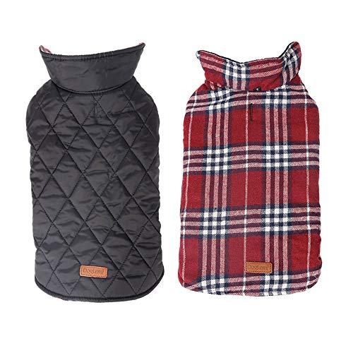 YouthUnion Ropa para Perro, Abrigo Capa Chaqueta para Mascota Invierno Calefacción Impermeable Cuadro Reversible para Perro Pequeño Grande (L, Rojo)