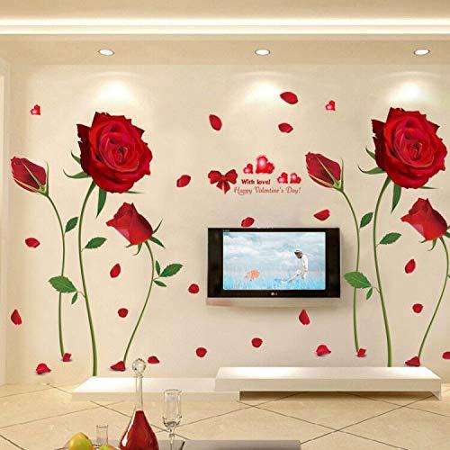 Kleine frische Wandsticker, warme Wanddekoration, selbstklebend Rose Extra groß
