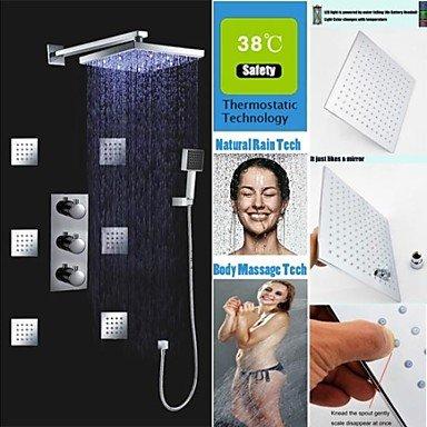 Miaoge thermostatique robinet de douche 25,4 cm LED sensible à la température 3 couleurs Pomme de douche et jets de massage Vaporisateur