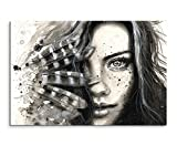 Sinus Art Wandbild 120x80cm Bild – Schöne Frau mit Federn