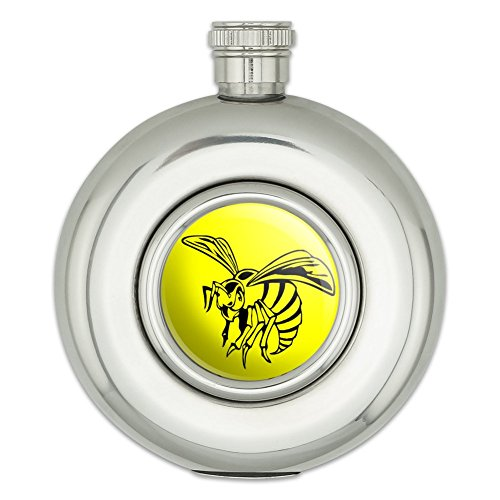 round-stainless-steel-5oz-hip-flask-insects-bugs-bee-wasp-hornet