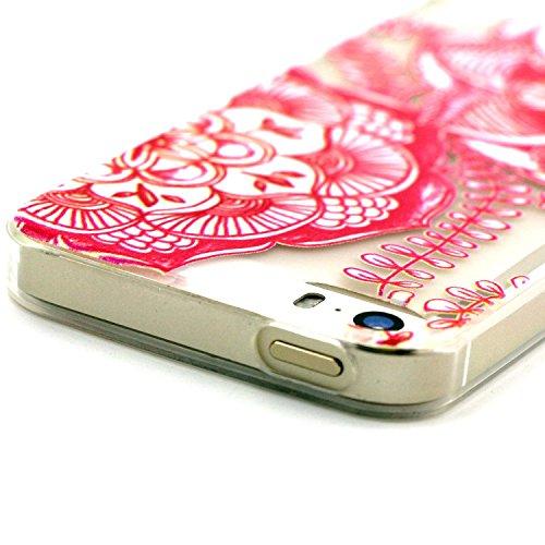iPhone 5 5S Custodia, iPhone 5 5S Cover, iPhone 5 5S Case, Felfy Custodia Trasparente Chiaro Ultra Sottile Silicone Gel TPU Morbida Elegante Belle Rosa Farfalla Floral Fiore Bling di Scintillio del Di Rosso Floral Fiore