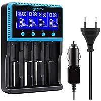 Keenstone Akku Ladegerät Universal, Vape Akku Ladegerät LCD Smart Batterie Ladegerät für NI-MH NI-CD AA AAA Li-Ion LiFePO4 IMR 18650 18500 18350 17670 17500 16340 14500 10440 RCR123 26650 RCR Batterie