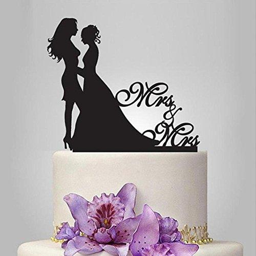 NEWSTARTS 1 STÜCK Jahrestag Kuchen Lesben Mode Homosexuell / Lesbisch Kreative Topper Hochzeit Dekorationen Acryl Kuchen Stehen Romantische Lieferungen Acryl Kuchen Topper (schwarz2)