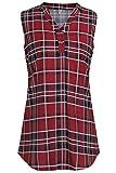 ELFIN Damen Locker Shirt Bluse Elegant Freizeit V-Ausschnitt Chiffon Tunika Casual Oberteile Lange Tops,Kariertes Top Weinrot,M