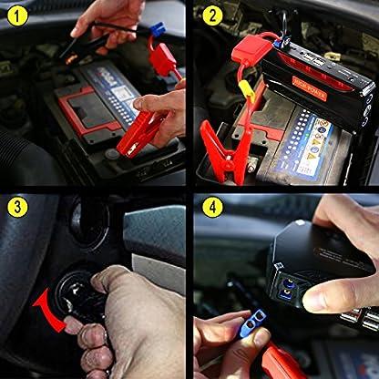 Jump Starter Batería Portátil de Emergencia para coche, YOKKAO Arrancador de Emergencia para coche 16800mAh 600, Kit de Arranque para coche con USB, Luz LED, Cargador Power Bank para Coche, Moto, Laptop, Smartphone, etc.