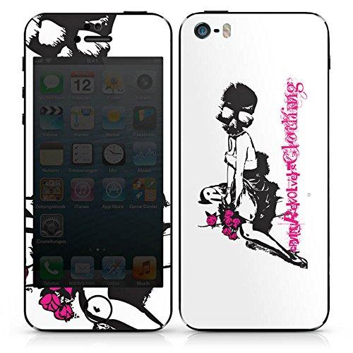 Apple iPhone 5 Case Skin Sticker aus Vinyl-Folie Aufkleber Pin up Girl Totenkopf Schädel DesignSkins® glänzend