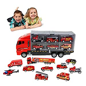 Culater 11 Sets Yellow/Red Mini Alloy Engineering Vehicle Set Portable Storage Container Transport Vehicle Toy Car