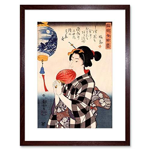 PAINTING WOMAN FAN GEISHA UTAGAWA KUNIYOSHI JAPAN FRAMED ART PRINT B12X12561 -