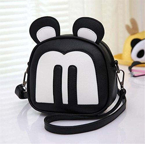 Sacchetti di scuola dei capretti dei sacchetti dei bambini del mouse del fumetto sveglio per le ragazze dei fumetti delladolescenza (black) Black