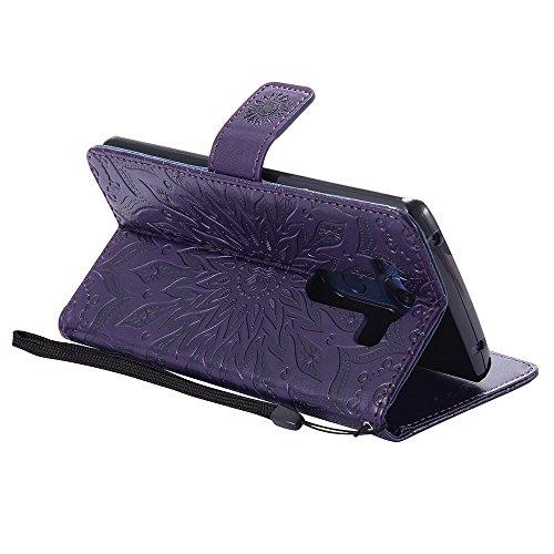 Für LG V10 Fall, Prägen Sonnenblume Magnetische Muster Premium Soft PU Leder Brieftasche Stand Case Cover mit Lanyard & Halter & Card Slots ( Color : Gray ) Purple