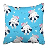No Soy Como Tu Throw Pillow Covers Print Blue Animal Cute Hippo...