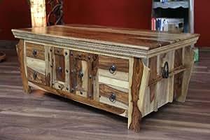 Table basse 110 x 60 x 45 cm en bois de sheesham massif style colonial style ancien et neuf - Wohnzimmertisch ausgefallen ...