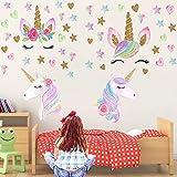 LABOTA 3 Pièces Stickers Muraux Licorne pour Enfants, 127PCS Autocollants Muraux Licorne DIY Vinyle pour Décoration Chambre de Filles Anniversaire Noël (Couleurs A)