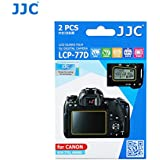 JJC LCP-77D 2Kits PET Ultra Hard Polycarbonate LCD Guard Film Display Screen Protector for Canon EOS 77D 9000D Camera, includes Shoulder Screen / Sub-screen Protector