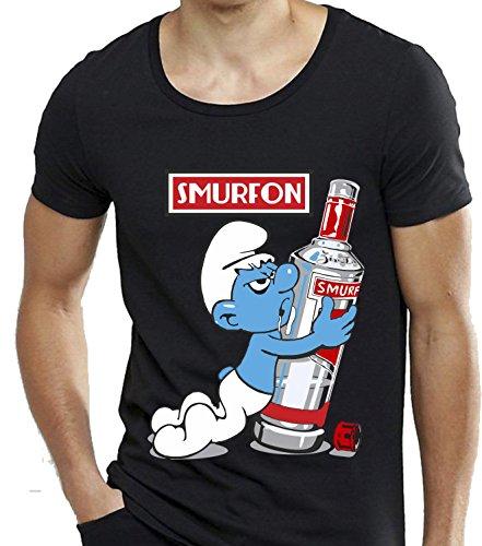 T-shirt cotone fiammato Scollo ampio a taglio vivo - SMURFON vodka puffi drink divertenti humor MADE IN ITALY Nero