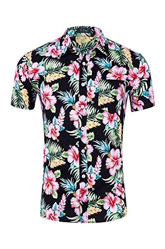 Los Hombres Camisa Hawaiana Floral De Manga Corta Camisas De Botón Bl