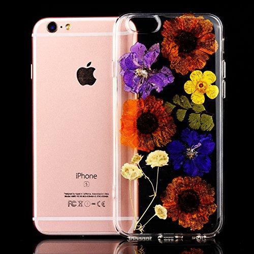 """iPhone 6sPlus Schutzhülle, iPhone 6Plus Soft TPU Handytasche, CLTPY Modisch Durchsichtige Rückschale im Getrocknete Blumenart, [Stoßdämpfung] & [Kratzfeste] Full Body Case für 5.5"""" Apple iPhone 6Plus/ Flower 13"""