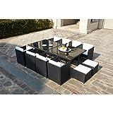 Mon Usine LSR-310-BK/WH 8C4F Le Vito Salon Jardin encastrable en résine Noir 235 x 115 x 73 cm