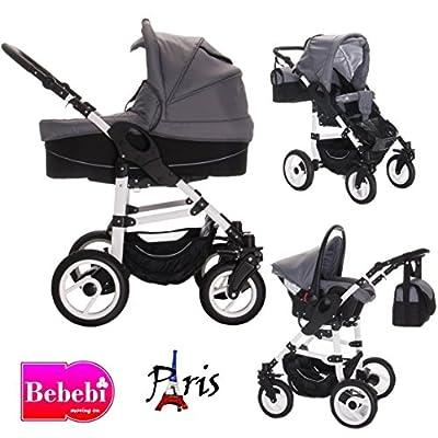 bebebi | Modelo Paris | Carrito 3en 1Set | Isofix Base & Auto asiento, neumáticos de aire