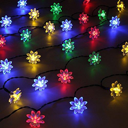 ATD® 55.8ft Warme und romantische Hochzeit Weihnachten Dekorativ Solar-Doppelt Lotus Blume Mehrfarbig Schnur-Lichter