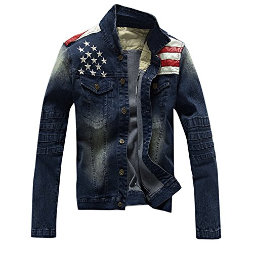Herren Jeansjacke Classic Jacket Übergangsjacke Trucker Jacket Denim Langarm Slim Fit mit Muster XL Denim Blau