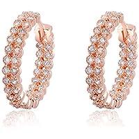 Bling Jewelry ragazza Pretty pavimentazione doppia cerchi cristalli Swarovski orecchini a cerchio - Orecchini Di Clip D'argento Ovali