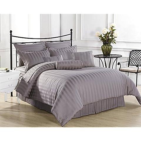 Ropa de cama egipcio - 600tc juego para cama de con Set de funda de edredón y faldón para cama de matrimonio de color gris plateado diseño a rayas 100% percal de algodón egipcio