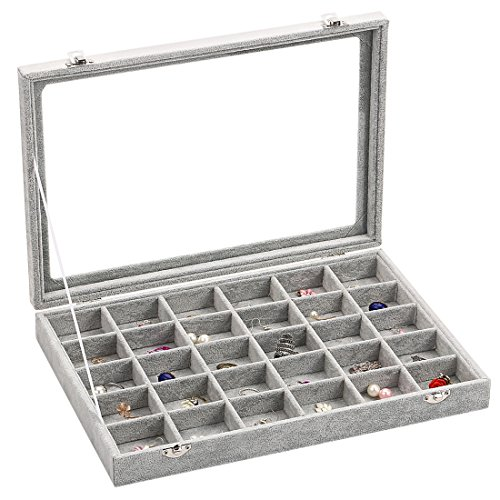 Ivos 30 Fächer Damen-Schmuckkasten Schmucklade Ringbox Schmuckkästchen für Halskette, Armband, Ringe und Ohrringe grau