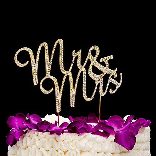 Dekoration für eine Hochzeitstorte - Herr & Frau Kuchendekoration mit Strassdiomanten für Hochzeiten - Gold Mr & Mrs (Cake Gold Topper Wedding)