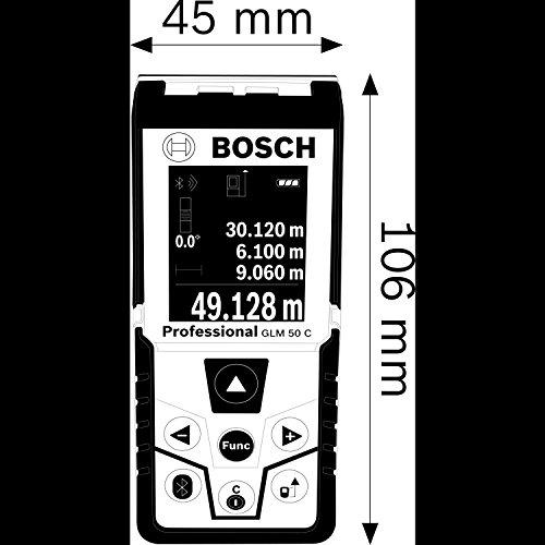 Bosch Professional GLM 50 C Laser-Entfernungsmesser (Messbereich 0,05-50 m, Bluetooth Schnittstelle für Apps (iOS, Android), drehbares Farb-Display, Schutztasche, IP54 Staub- und Spritzwasser-Schutz) 0601072C00 - 9