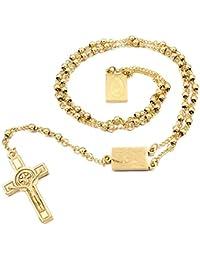 SWAOOS 4 Mm, 66 Cm De Largo Color Dorado Hombres Rosario Collar De Cuentas Acero Inoxidable Religión De Jesús, Mujeres Cruz Joyas
