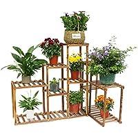 Malayas Estantería para Macetas Soporte de Madera para Plantas Flores de 10 Niveles Estantería Decorativa para Jardín Exterior Interior 115x65x91cm