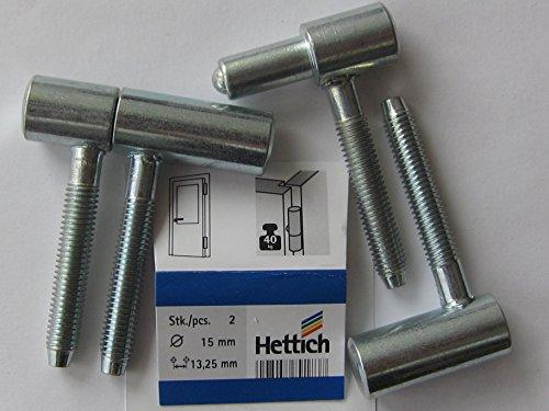 Hettich Einbohrband für Türen mit Holzzargen, 55 x ø 15 mm, 40 kg, Stahl verzinkt, 2 Stück, 89183