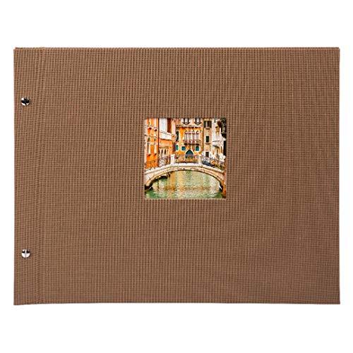Goldbuch Schraubalbum mit Fensterausschnitt, Bella Vista Trend 2, 30 x 25 cm, 40 schwarze Seiten mit Pergamin-Trennblättern, Erweiterbar, Leinen, Coffee Bronze, 26716