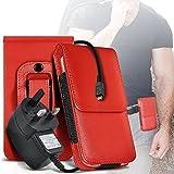 N4U ONLINE Sony Xperia E3 Premium PU Leder Gürteltasche Schutzhülle & CE geprüft Netzladegerät - rot