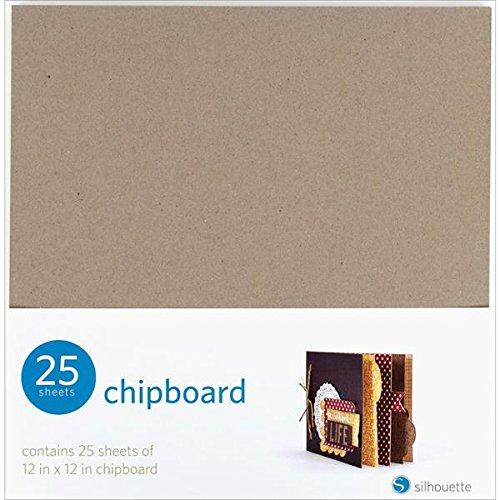 Silhouette America GT1901122 Graupappe, 12 x 12 Zoll, 25 Blatt - Album-12x12 Chipboard