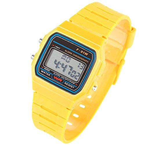Taffstyle Damen Herren Sportuhr Silikon Armbanduhr 80er Jahre mit Alarm Datum Kalender Viereckig Vintage Retro Digital Uhr Gelb