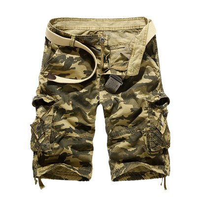 WDDGPZDK Strand Shorts/Camouflage Lose Cargo Shorts Men Cool Summer Military Camo Kurze Hose Man Cargo Shorts Keine Gürtel, Khaki, 34 -
