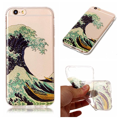 Linvei Hülle für Apple iPhone 6 Plus/ 6S Plus(5.5 Zoll) - Buntes Muster Design TPU Silikon Backcover Case Handy Schutzhülle-Rote Sonnenblume Sea Waves